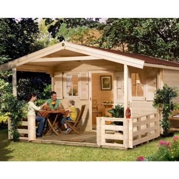 weka gartenhaus typ 135 b in 45 mm mit vordach terrasse 2 gr ssen. Black Bedroom Furniture Sets. Home Design Ideas
