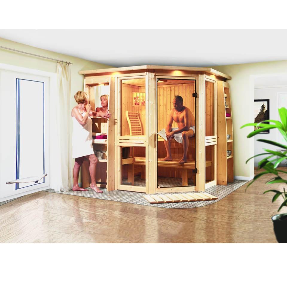 karibu amelia 1 sauna mit eckeinstieg. Black Bedroom Furniture Sets. Home Design Ideas