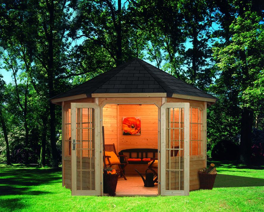 karibu 8 eck pavillon roma 2 geschlossen. Black Bedroom Furniture Sets. Home Design Ideas