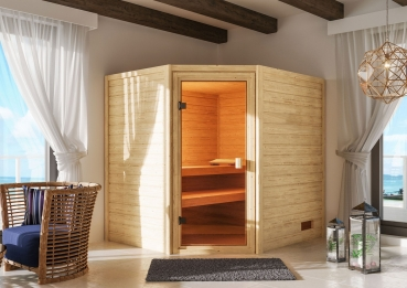 Woodfeeling Sauna Katja - 38 mm Massivholz Aktionssauna