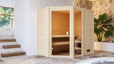 Woodfeeling Sauna Jada - 38 mm Massivholz Aktionssauna