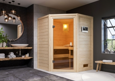 Woodfeeling Sauna Antonia - 38 mm Massivholz Aktionssauna