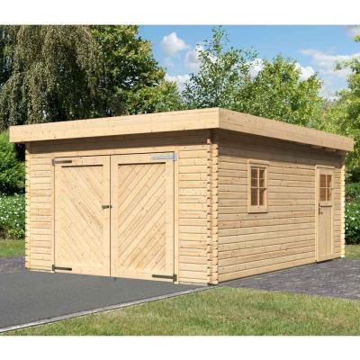 tun sie sich etwas gutes mit holz karibu flachdach garage mit tor 40 mm. Black Bedroom Furniture Sets. Home Design Ideas