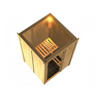 tun sie sich etwas gutes mit holz karibu sauna lenja 230 volt fronteinstieg. Black Bedroom Furniture Sets. Home Design Ideas